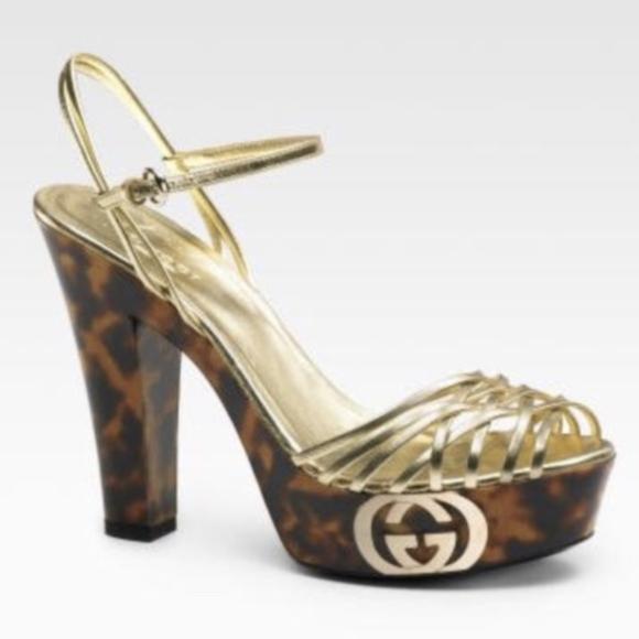 a3ec9d1ffd1 Gucci Shoes - Gucci Grease Platform Leather Ankle Strap Sandals